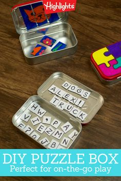 The beauty of this activity/game is that it's self-contained. Once your child draws the picture and cuts it into pieces, the puzzle is assembled—and stored—in the tin. It's perfectly portable and ideal for times when kids need a little something to keep them busy.