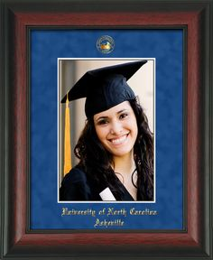 UNC Asheville 5 x 7 Rosewood photo frame w/UNCA blue suede mat. – Professional Framing Company