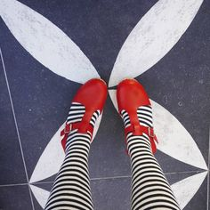 OK it was no yellow brick road but  it was still a pretty cool floor  #ihavethisthingwithfloors #matchymatchy #wizardofoz #blackandwhite #lovemylottas  #fromwhereistand #lottafromstockholm #stripey #redshoes #clogs #dresscolourfully #patternlife