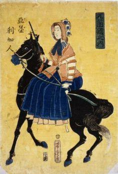 Horses Japanese Woman Riding Sidesaddle Ukiyo-e Utagawa