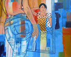 ST Serie Autorretrato de la artista adolescente 80 cm x 100 cm Acrílico-Lienzo 2007 1000€  #arte #art #cuban #Lisandra Isabel Garcia