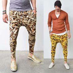 Mens Funky Leaf Leopard Print Summer Ankle Baggy Sweatpants By Guylook.com