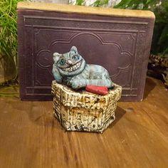 Alice In Wonderland - Cheshire Cat - Figure - Wonderland - Sculpted Figure - Treasure Box - Box - Art Doll - Artistic Doll - OOAK Figure - by Rustiikkitupa on Etsy