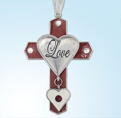 891d8adf4cb4 Love - Red Cross with Glittery White Heart Charm - Love Is Engraved on  Silver Heart - I Love You Gift