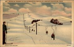 Riding Ski Tramway Up Dollar Mountain, Sun Valley, Sawtooth Mountains, Idaho - Vintage Linen Postcard - Unused (P) Snowboarding, Skiing, Sawtooth Mountains, Sun Valley Idaho, Mountain Village, Places To See, Vacation, World, Vintage Linen