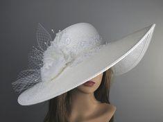 Off White Church Wedding Hat Head Piece Kentucky Derby Hat White Bridal Coctail Hat Couture Fascinator  Bridal Hat