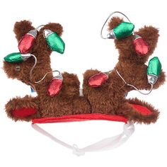 Petco Holiday Plush Reindeer Antlers & Ears with Faux Light Bulbs at PETCO