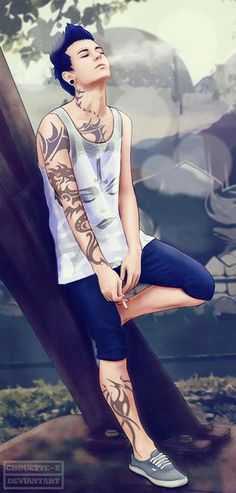 ((Open roleplay, be him?)) Here I am again with nothing to do. I light up a cigarette and smoke it slowly while I watch my surroundings. It was quite calm, I mean as a bad boy and the most popular boy I don't get much peace and quiet. I see the nerd passing by, her long hair falling down her back and her glasses sliding down her face. I smirk and decide to go up to her