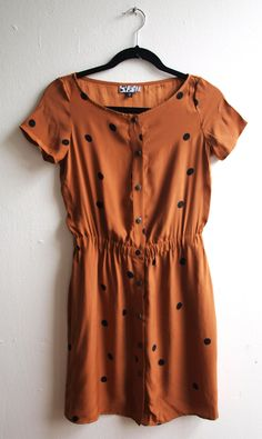 Dusen Dusen copper silk dress with navy spots, like it if the dress was longer... course I could just sew me one ;)