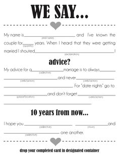 Mad Libs.. wedding edition! Leave on tables for a conversation starter and activity while food is brought out :)