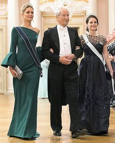 (Left) Princess Tatiana of Greece, Princess Sofia of Sweden (Right) and Bernhard Mach arrive for a gala dinner at the Royal Palace in Oslo, Norway on May 9, 2017 to mark the 80th Birthday of the King and Queen.