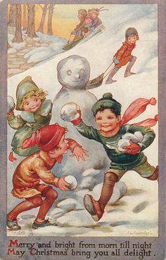 children playing in snow, snowman