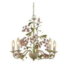 AF Lighting Grace 5 x 60-Watt Light Candle Base Chandelier, Cut Metal with Antique Cream Finish