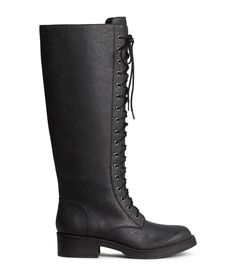 Black boots in faux leather with front laces, side zip, and rubber soles. | H&M Shoes