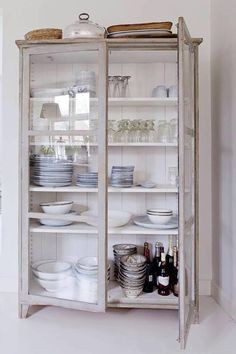 Repurpose an old cabinet, bookshelf or armoire.the possibilities are endless. Kitchen Interior, Kitchen Decor, Armoire In Kitchen, Kitchen Ideas, Kitchen Cupboards, Bookshelf In Kitchen, Kitchen Designs, Upcycled Kitchen Cabinets, Craft Armoire