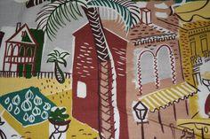 VINTAGE TROPICAL PRINT BARKCLOTH FABRIC ~ SUNNY COLORS