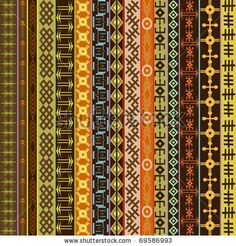 Ethnic geometrical ornaments, colored African motifs