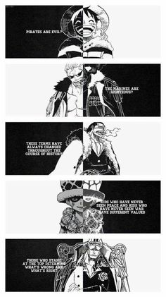 Luffy, Smoker, Crocodile, Law, Akainu, young, childhood, text, quotes; One Piece