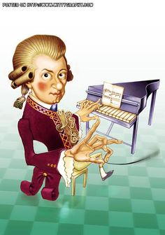 Wolfang Amadeus Mozart(prodigy in Classical Music). The illustrator Simplycharly has named this caricature Simply Mozart.
