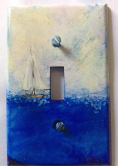 Alcohol ink switch plate cover sailing by AileensArtwork on Etsy