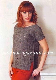 Пуловер с короткими рукавами, связанный поперек