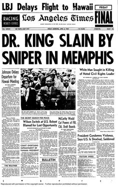 The appraisal of Dr. King's leadership and power in death ransacked the peace filled movement of the Civil Rights Movement, causing endless violent riots. Us History, History Facts, Black History, Newspaper Front Pages, Vintage Newspaper, Newspaper Article, Martin Luther King, Newspaper Headlines, Interesting History