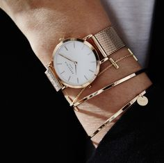 The Tribeca White - Rose Gold and bracelets from the Downtown Chic collection Available at www.rosefieldwatches.com