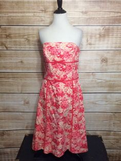 Ann Taylor Pink Empire Waist Strapless A-line Dress Size 8 #AnnTaylor #EmpireWaist