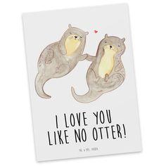 Postkarte Otter händchenhaltend aus Karton 300 Gramm