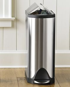 simplehuman™ Stainless-Steel Fingerprint-Proof Butterfly Trash Can #williamssonoma