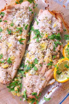 Quickly pull together a speedy meal, yet fancy enough to serve to company with this delicious recipe for baked lemon garlic butter fish! Lemon Recipes, Fish Recipes, Baby Food Recipes, Seafood Recipes, Cooking Recipes, Butter Fish Recipe, Good Food, Yummy Food, Baked Fish