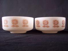2 Federal Milk Glass Bowls in Sunflower