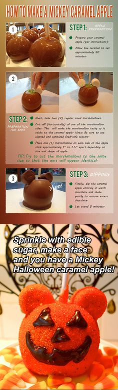 DIY: Mickey Mouse Caramel Apple.  Must-have at a Mickey Mouse Halloween Party. Mickey Mouse Food, Mickey Mouse Desserts, Minnie Mouse Halloween, Halloween Apples, Scary Halloween, Halloween Treats, Halloween Recipe, Happy Halloween, Holiday Treats