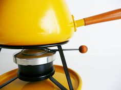 Vintage Fondue Pot Fondue Set Mustard Yellow by kissavintagedesign, $28.00