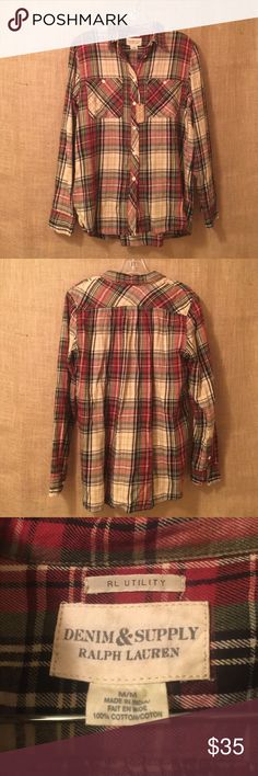 Denim & Supply Ralph Lauren Plaid Top NWT Ralph Lauren Denim & Supply plaid button-up top. Colors are tan, cream, red, blue, & green. Excellent condition from a smoke & pet free home. All offers considered! Denim & Supply Ralph Lauren Tops Button Down Shirts