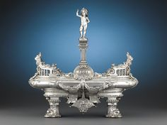Antique Silver Plate, Troubadour Style, Silver Plate Centerpiece ~  French,ca1850.