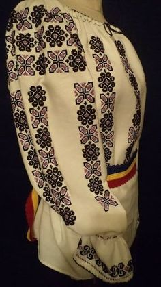 Traditional Romanian blouse (IIE) by Atelier de Costume Populare si Broderie Bedeciu Cross Stitch Needles, Cross Stitch Art, Cross Stitch Embroidery, Russian Embroidery, Embroidery Fashion, Ethnic Fashion, Womens Fashion, Costumes Around The World, Ethno Style