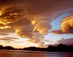 beautiful spiral clouds form above south Georgia island