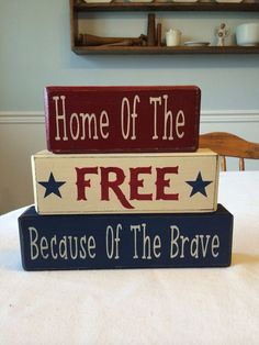 Items similar to Patriotic of July Independence Day Americana decor primitive rustic country home decor Memorial Day military home stacking wood blocks on Etsy Patriotic Crafts, July Crafts, Summer Crafts, Holiday Crafts, Holiday Fun, Holiday Ideas, Memorial Day Decorations, 4th Of July Decorations, Holiday Decorations