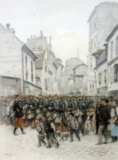 French volunteers marching to the front, Franco-Prussian War