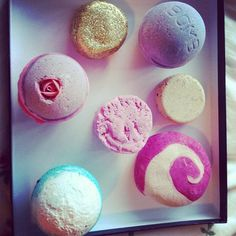 LUSH bath bombs. @Abbey Adique-Alarcon Coleman this is what I was going to do for my birthday...