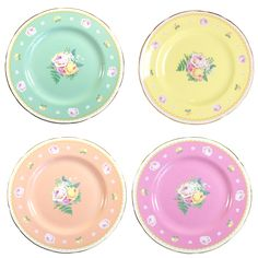 Set of four cake plates - multi coloured......love to mix it up....these plates are full of colour and perfect for any afternoon tea #vintage #yum