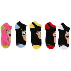 Hot Topic Bob's Burgers Family No-Show Socks 5 Pair ($15) ❤ liked on Polyvore featuring intimates, hosiery, socks and multi