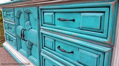 Large Dresser in distressed Turquoise and Off White with Black Glaze. From Facelift Furniture. Refinished Bedroom Furniture, Black Painted Furniture, Wooden Furniture, Furniture Makeover, Turquoise Dresser, Large Dresser, Diy Projects For Bedroom, Dresser Painting, Painting Furniture