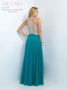 #BLUSHPROM #PROM #11085 Blush Prom - 11085. Available in Seafoam Green, Tropical Green & Carnation Pink.