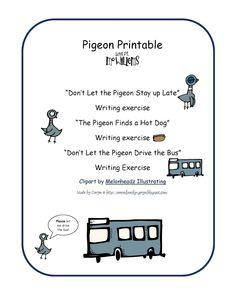 Preschool Printables: Pigeon Books by Mo Williams Printable Welcome To Kindergarten, Preschool Class, Pigeon Craft, Pigeon Books, Mo Willems, Writing Exercises, Educational Games For Kids, Author Studies, Preschool Printables