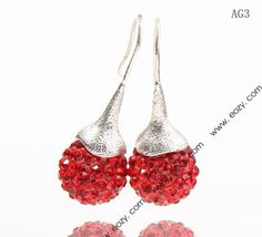 14x35mm Bright Red Shiny Crystal Polymer Clay Disco Ball Alloy Dangle Earrings