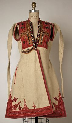 late 19th or early 20th century Culture: Macedonian Medium: wool, cotton, silk, metallic thread Dimensions: (a) Length: 37 in. (94 cm) (b) Length at CF: 50 1/2 in. (128.3 cm) (c) Overall: 15 x 17 in. (38.1 x 43.2 cm) (d) Length: 136 in. (345.4 cm) (e, f) Length: 10 1/2 in. (26.7 cm) (g) Total Length (square inches): 32 in. (81.3 cm)