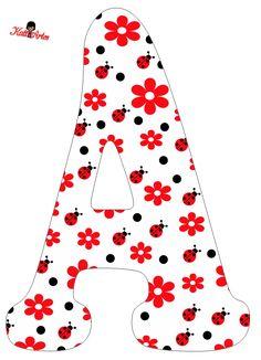 Flowers and Ladybugs Free Alphabet. Alfabeto de Flores y Mariquitas.  PÁGINA CON ABECEDARIOS DE TODAS CLASES