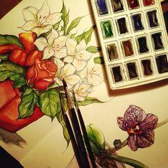 Начинала тетрадь,как тематический артбук по Средиземью, а теперь она потихоньку заполняется цветами. #ArtBySilmairel #Art #Watercolor #Brushes #Flowers #Rose #Orchid #Phalaenopsis #Red #Green #Violet